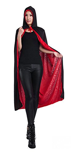 Women Sided Bicolor Halloween Vampire Hooded Cape Cosplay Masquerade Costume
