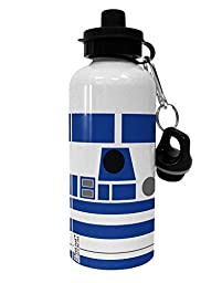 TooLoud Blue and White Robot AOP Aluminum 600ml Water Bottle - White All Over Print