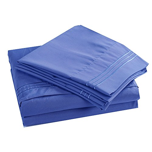 Honeymoon 1800 Brushed Microfiber Embroidered Bed Sheet Set, Ultra Soft, Queen - Light Blue (Light Blue Coral compare prices)
