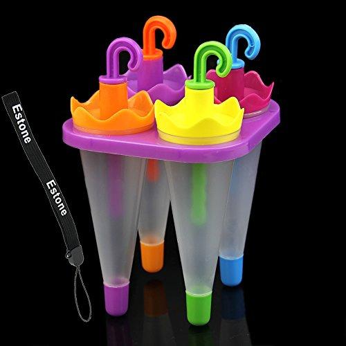 Estone® 4Pcs 1Set Lovely Ice Make Frozen Juice Ice Cream Ice-Lolly Yogurt Popsicle Maker Molds Kitchen Diy (Umbrella Shape) front-632517