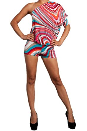 LJIF Women's One Shoulder Summer Fun Romper-Various-Small
