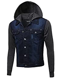 Nicely Stone Washed Denim Contrast Detachable Hooded Jacket Dark Blue Size M