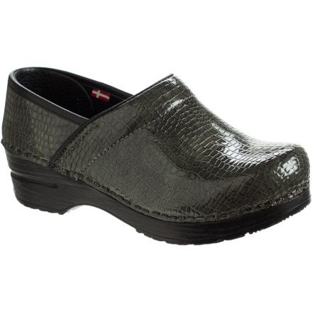 Sanita Women's Original Professional Croco Closed Clog,Stone Patent,38 EU/7.5-8 M US