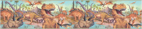 Blue Mountain Wallcoverings SR026247 Just for Kids Dinosaur Self-Stick Wall Border