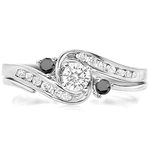 0.50 Carat (Ctw) 18K White Gold Round Black & White Diamond Swirl Bridal Engagement Ring Set (Size 7.5)