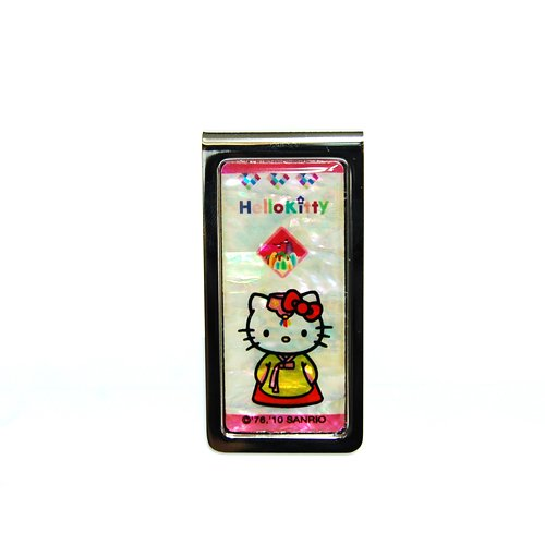 Mother of Pearl Hello Kitty Korean Traditional Dress Hanbok Design Metal Stainless Steel ID Driver License Thin Money Credit ATM Business Card Cash Holder Clip