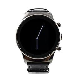 Round Smart Watch, SANOXY Luxury Steel Smart Phone Watch with SIM card and Heart Rate, Camera (GUNMETAL)