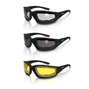 3 Pairs Kickback Foam Padded Motorcycle Sunglasses from Global Vision