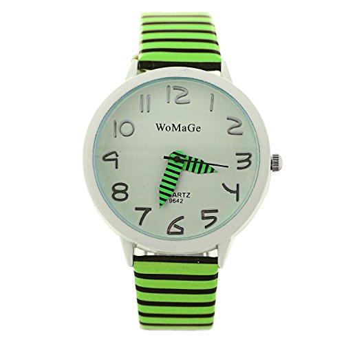 Dayan Wamage Casual Watches Ladies Quartz Watch Fashion Zebra Strap Analog Wristwatch Green