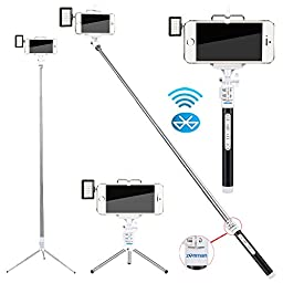 Zonman® Selfie Stick for iPhone 6 + Mini Led Light Portable Pocket Spotlight with Built-in Wireless Bluetooth Remote Shutter Metals Rod 4 Mode Adjustable Phone Holder for iPhone 6 iPhone 6 Plus 5 5s Samsung Galaxy S4 S5 Android(Black-1)