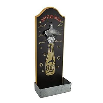 Wall Mounted Retro Beer Bottle Opener W/ Cap Catcher