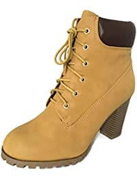 Womens Rugged Lace Up Stacked High Heel Ankle Boots Camel 8.5 B(M) US