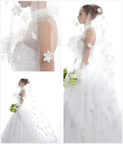 Passat Wedding Veil 3 Meters Lace Edge 3d White Lace Flowers a Bridal Veil