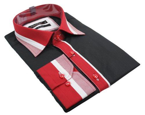 Mens Black Italian Shirt Red White Design Smart or Casual