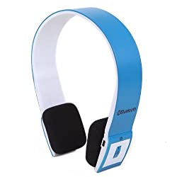 HDE Slim Wireless Bluetooth Stereo Headphones Headset with Mic and Handsfree Calling for PS3, iPhone, MP3 Players (Blue)