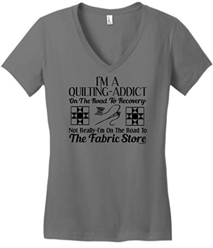 Quilting Addict On The Road To Recovery Fabric Store Juniors V-Neck Medium Grey