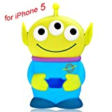 Disney 3D 3 Eyes Toy Story Alien Movable Eye Hard Case Protector Shield Cover Iphone 5 5G Gift (Blue)