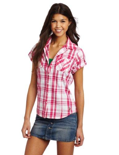 U.S. Polo Assn. Women's Fitted Plaid Woven Shirt, Pink Hair, Medium