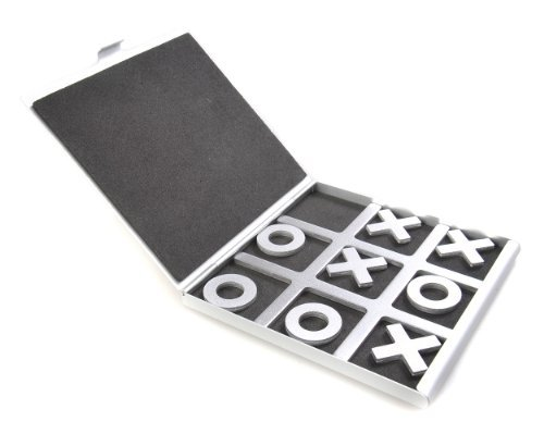 Attica Alu Series: Tic-Tac-Toe - in aluminium box, travel set, game pieces with X & O, playing board 10,5cm x 10cm x 0,6cm (XY008P US)