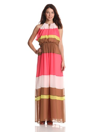 Vince Camuto Women's Color Block Maxi Dress, Teaberry Multi, 2