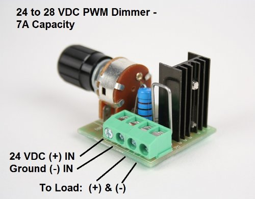 24 Volt Led Pwm Dimmer, 7 Amp Capacity, Dc Lighting Dimmer Controller For Led Incandescent Auto Rv Marine Aircraft Interior Lighting