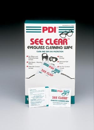 Pdi See Clear Eye Glass Cleaning Wipes 120 Per Box - Pre-moistened wipes, Anti-fog and anti-static formula., 120/bx, 12 bx/cs