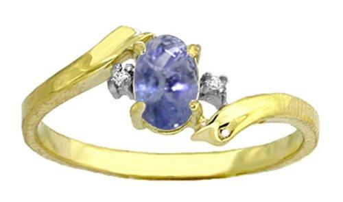 Genuine Oval Tanzanite & Diamond 14k Gold Promise Ring