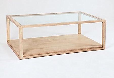 Couchtisch 130Glas/Holz weiß Kerze–Kollektion Gamma