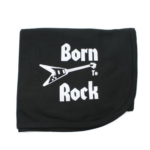 CrazyBabyClothing Born To Rock Baby Receiving Blanket - 1
