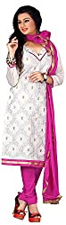 AAINA Women's Cotton Silk Unstitched Dress Material (White)