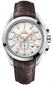 Omega Aqua Terra Silver Dial Brown Leather Mens Watch 23113445002001