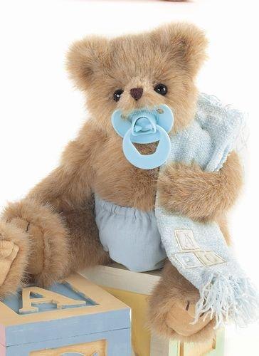 A Cute & Cuddly Baby Teddy Bear with Dummy. Li'l Sucker Blue. 25cm.