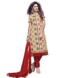 Pari Presents Cream Coloured Dress Material