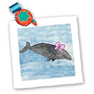 qs_1100_1 Whale Tail Gang - Gina Grey Whale - Quilt Squares - 10x10 inch quilt square