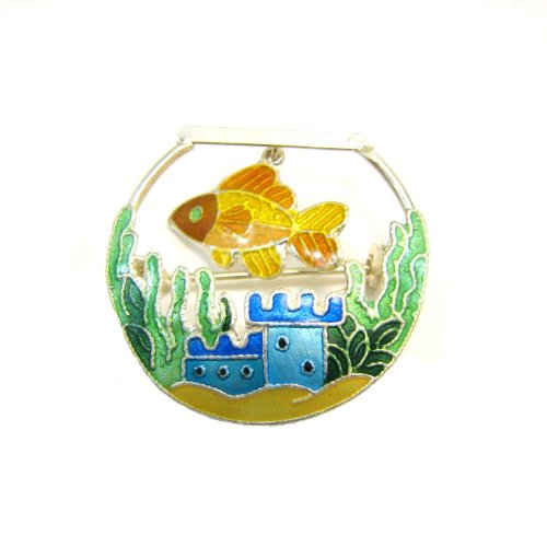 Movable Goldfish In a Bowl Enamel Over Sterling Pin / Brooch