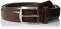 Stacy Adams Men\'s 30mm Pinseal Leather Belt with Pinhold Design, Chocolate, 34