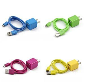 4X Colorful 2in1 US Plug Wall Charger Adapter + Micro USB Data Sync Charger Cable Cord for Samsung Galaxy S2 S3 i9100 i9300 S5830