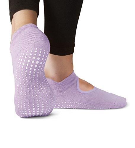 LA Active Grip Socks - 2 Pairs - Yoga Pilates Barre Ballet Non Slip (Royal Lilac and South Beach Teal)