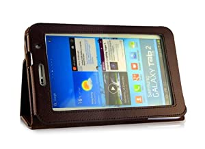 UKOUTLET Samsung Galaxy Tab 2 7.0 (P3100 P3110) Leather Case Trifold Stand Folio Case Cover - Brown