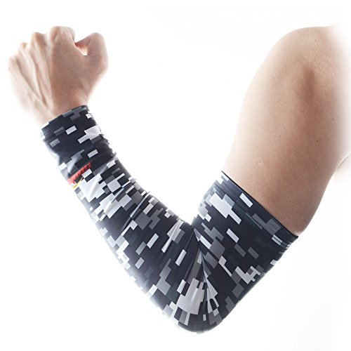 COOLOMG Youth Anti-Slip Arm Sleeves Cover Skin UV Protection Sports Adult Digital Gray Small