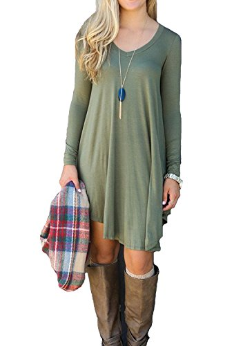 Women's Loose Long Sleeve Stretch Solid A-Line Short Dresses Emerald L