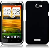 HTC One X / X+ Rubberised Back Cover Case / Shell / Shield - Solid Black