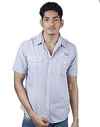 Mavango Blue Regular Double Pocket Stylish Shoulder & Sleeves Men's Cotton Shirt