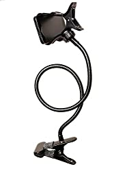Best Universal Gooseneck Cell Phone Holder for Office, Bedroom, Bathroom and Kitchen. Sturdy and Easy to Adjust with a Long Flexible Arm and a 360 degree Rotating Clamp.