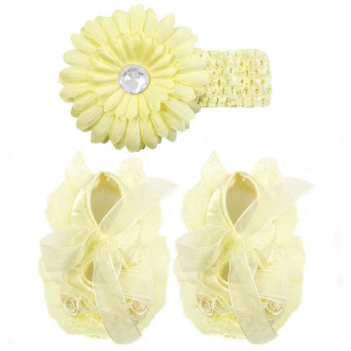Wrapables Floral and Lace Princess Shoes and Headband Set, Yellow Size 11