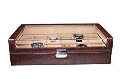 Essart PU Leather Designer Couple Watch Box for 12 Watches - Brown