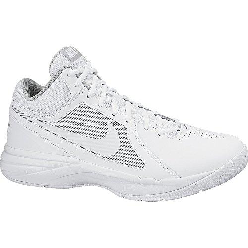 Nike Men's The Overplay VIII White/White/Metallic Silver Basketball Shoe 12