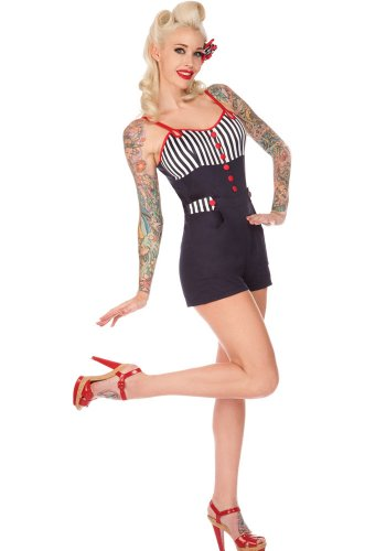 Voodoo Vixen Women's Hello Sailor Nautical and Stripes Playsuit
