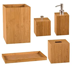Classics Bamboo Bath And Vanity Set 5 Pcs Bathroom Accessory Sets