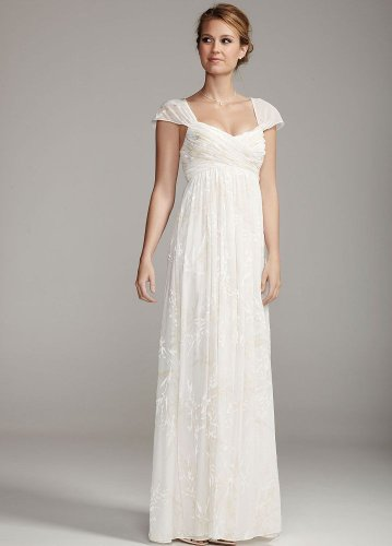 DB Studio Wedding Dress: Floral Burnout Chiffon Gown